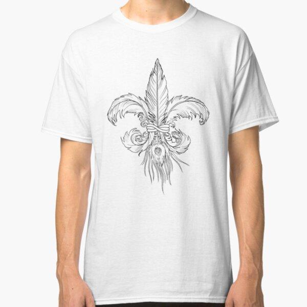 Flor de Lis plumas línea Camiseta clásica