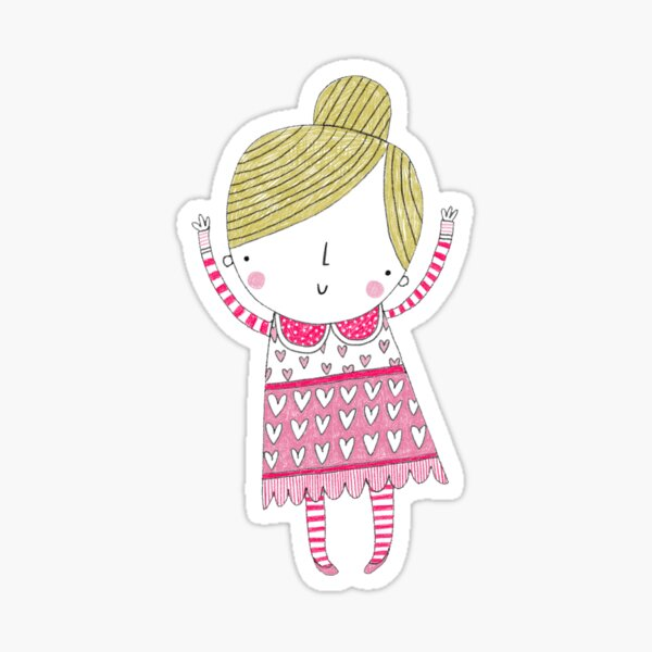 Little girl in a spots and hearts, pink and white dress and stripey tights Sticker