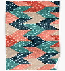 Kilim Weaving Structure Persian Green Poster