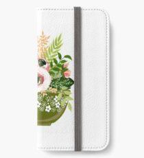 Grünes Pyrex mit Blumen iPhone Flip-Case/Hülle/Klebefolie
