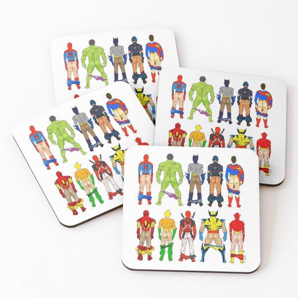Superhero Butts Coasters (Set of 4)