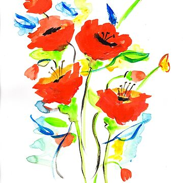 Poppies on Blue by mscottartMJs