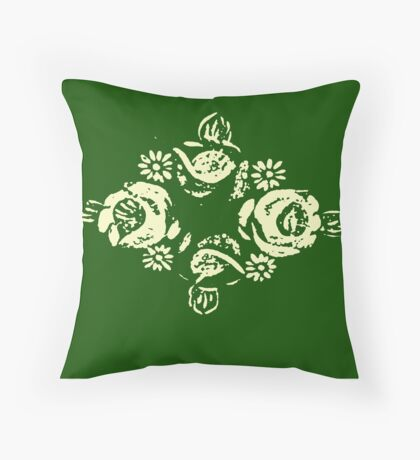 Canal flowers on green Throw Pillow