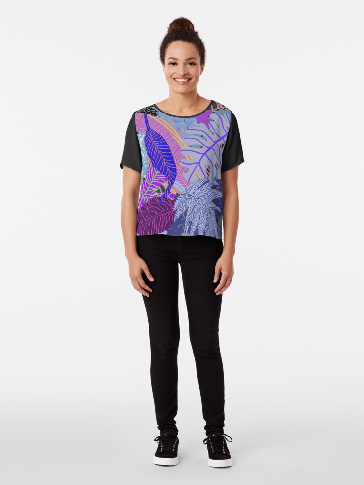 Alternate view of Ultraviolet Fade Nature Leaves Chiffon Top