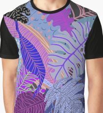 Ultraviolet Fade Nature Leaves Graphic T-Shirt