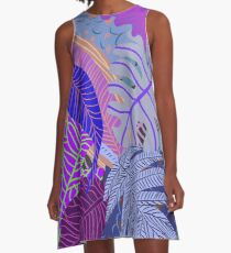 Ultraviolet Fade Nature Leaves A-Line Dress