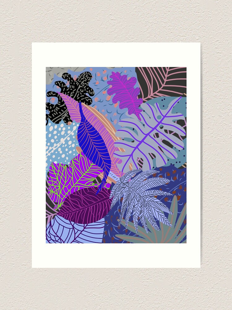 Alternate view of Ultraviolet Fade Nature Leaves Art Print