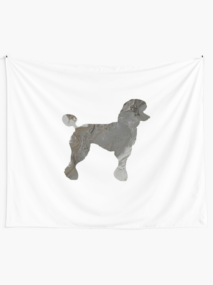 Grey Poodle Abstract Fluid Acrylic Painting Tapestry