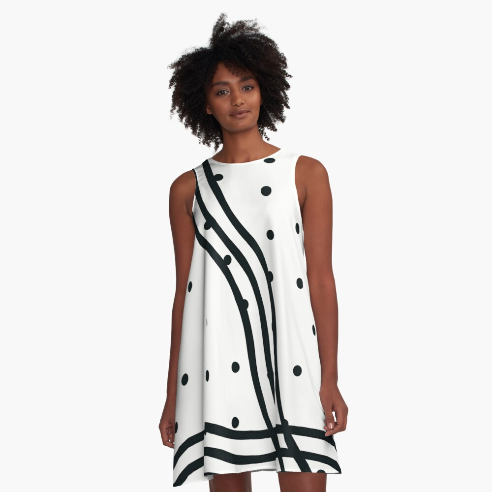 Black and White Polka dots and Wavey Lines A-Line Dress Front