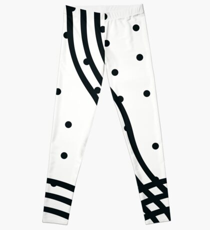 Black and White Polka dots and Wavey Lines Leggings