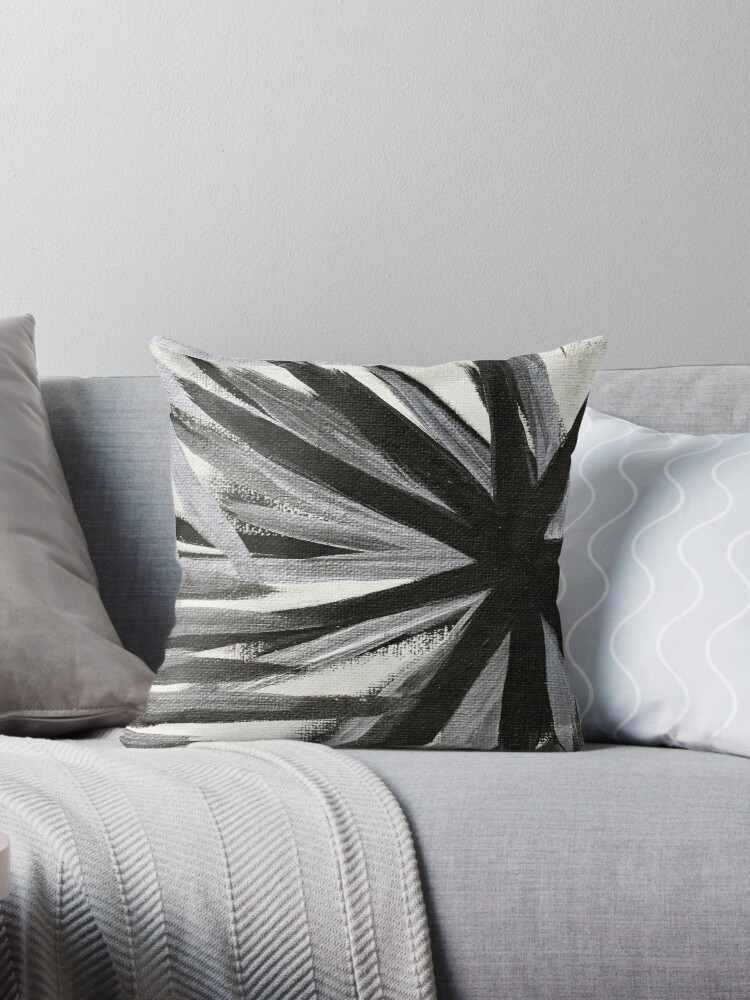 Crystallization Black White Silver Throw Pillows By Thewisecarrot