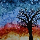 Alcohol Ink Sunset Tree on Wood by Emily Meder