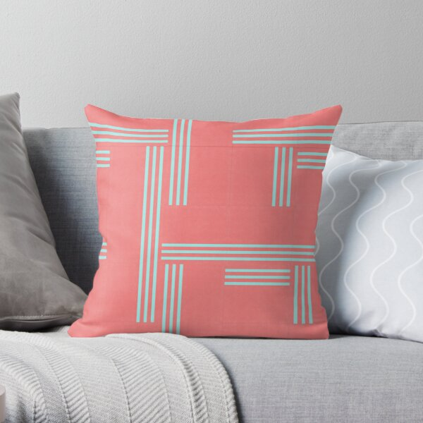 Bittersweet Pink and Aqua Geometric Pattern by Jessica Poundstone Throw Pillow