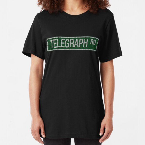 Telegraph Road green and  white street sign cracked Slim Fit T-Shirt