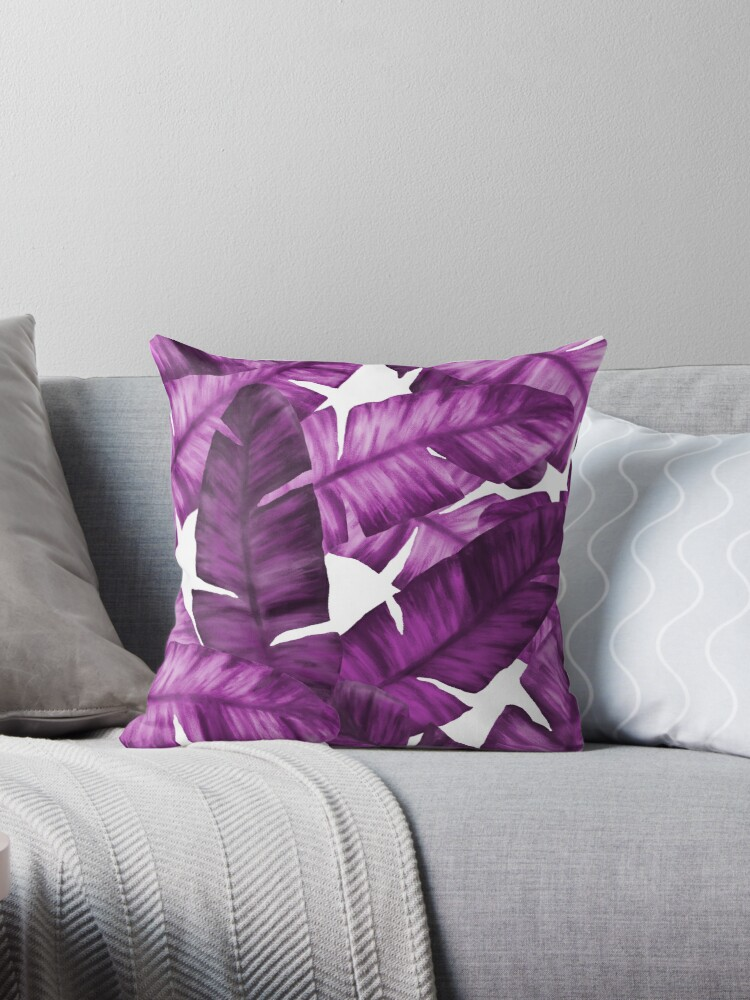 Violet Tropical Banana Leaves Pattern by oursunnycdays