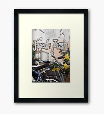 Street art and pushbikes  Framed Print
