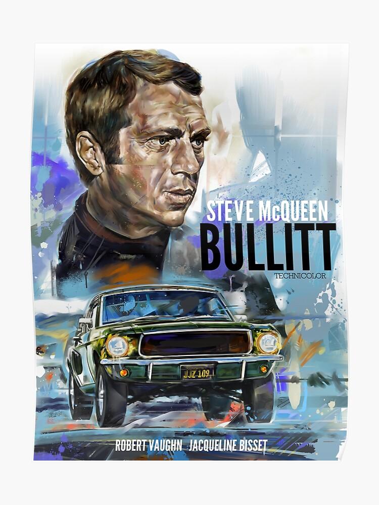 Steve McQueen Bullitt  Movie Poster Car Racing Canvas Art Print Wall Decor