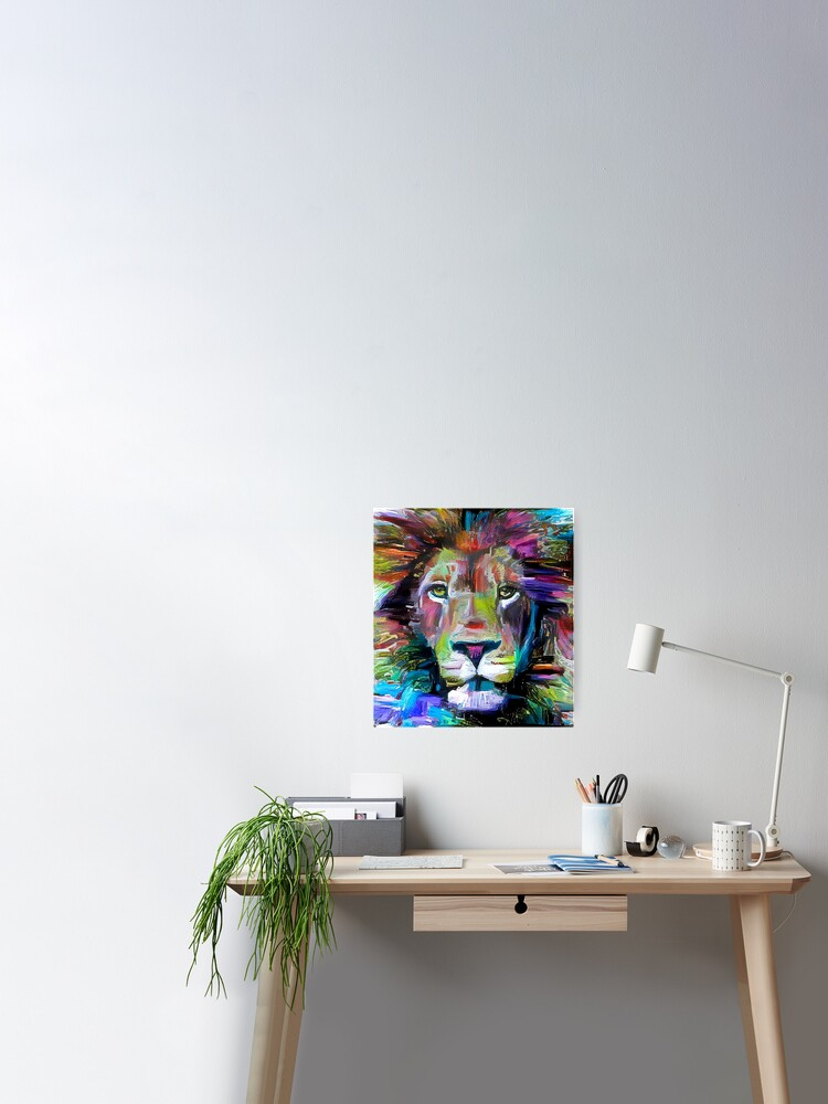 Poster Peinture Lion Coloree V3 Par Erisian Redbubble