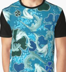 Black,Blue, light blue, pattern, sharks, crocodiles Graphic T-Shirt