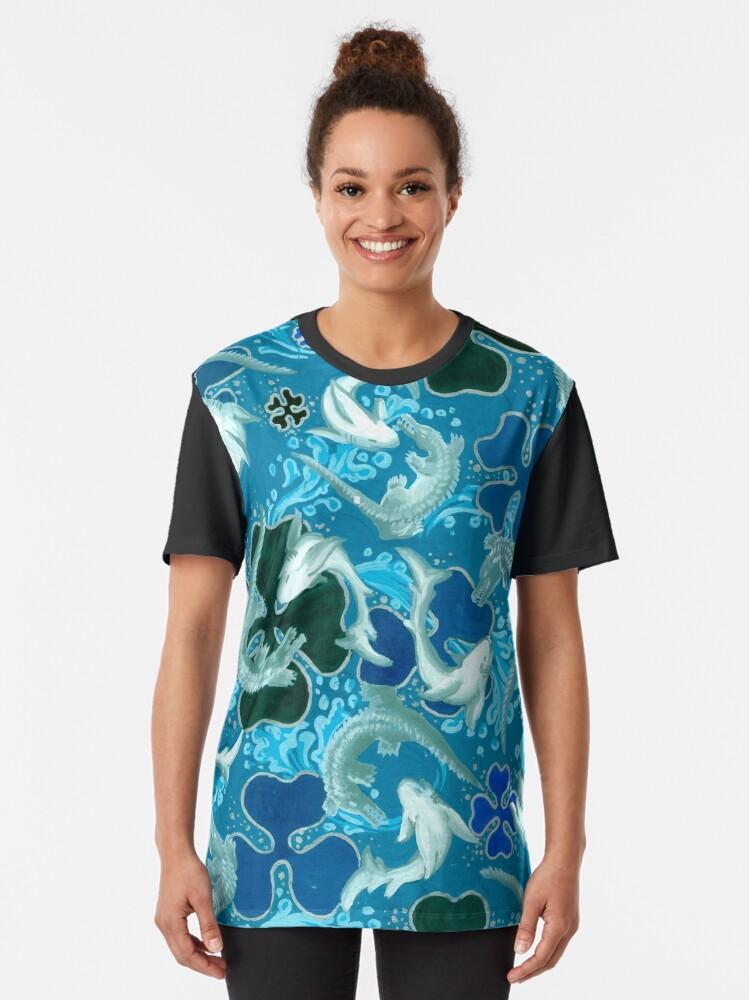 Alternate view of Black,Blue, light blue, pattern, sharks, crocodiles Graphic T-Shirt