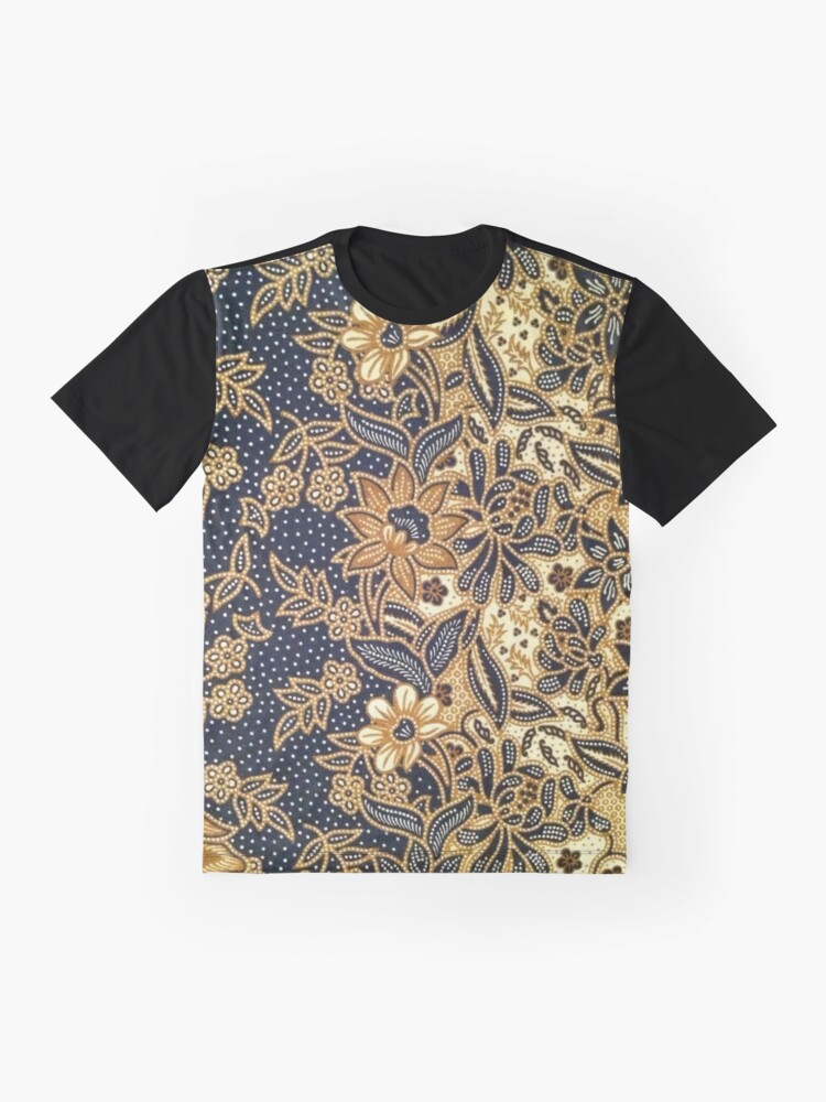 Alternate view of Black, light brown, pattern, flowers, leaves Graphic T-Shirt