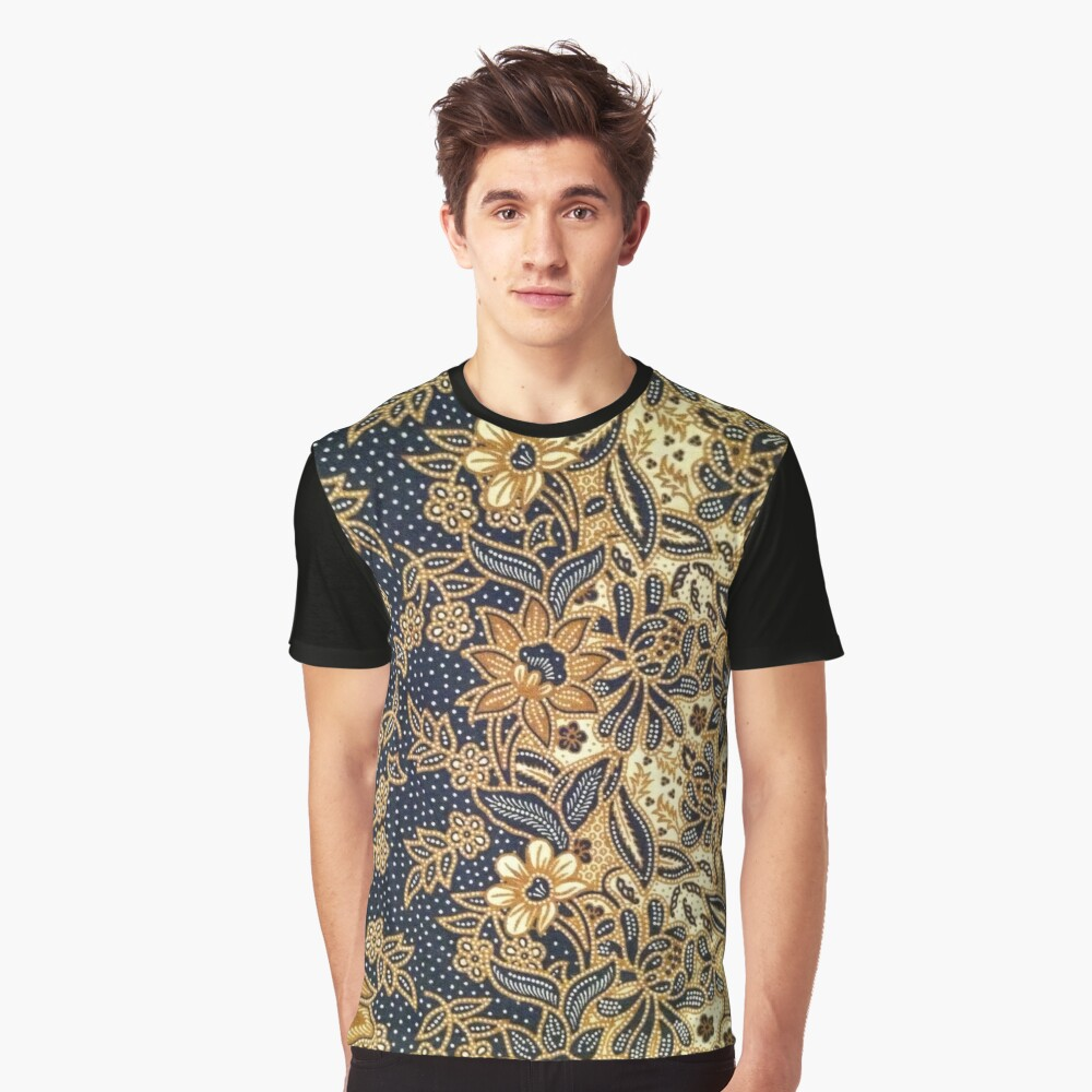 Black, light brown, pattern, flowers, leaves Graphic T-Shirt