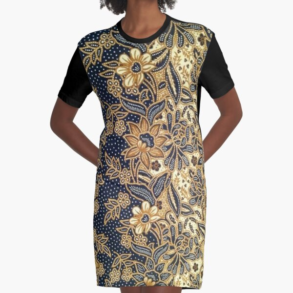 Black, light brown, pattern, flowers, leaves Graphic T-Shirt Dress