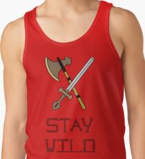 Bright vector illustration of the Scandinavian life. Fighting tools of Vikings. Stay wild. Men's Tank Top