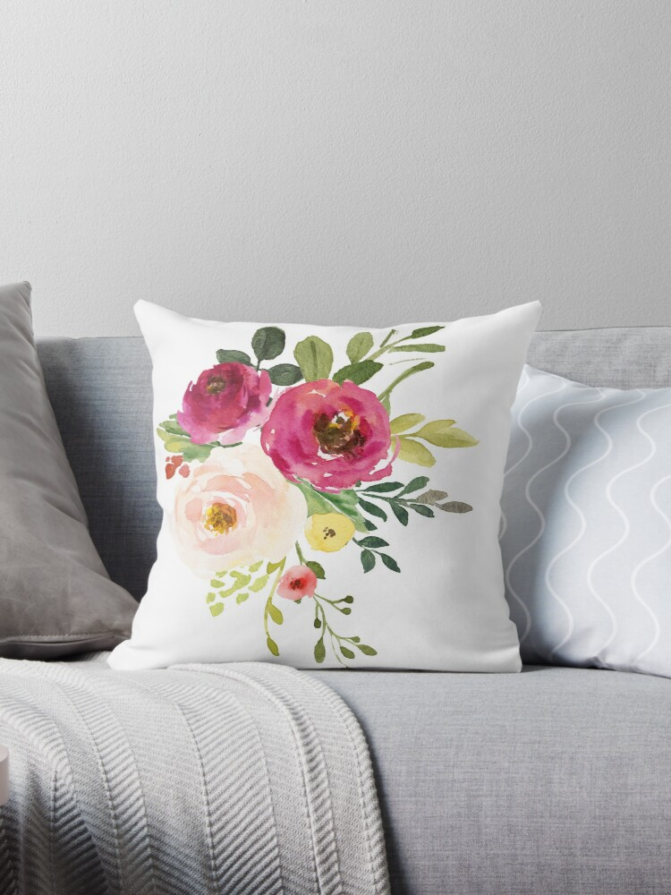 Pink Burgundy Floral Watercolor Bouquet Throw Pillow By Junkydotcom Redbubble