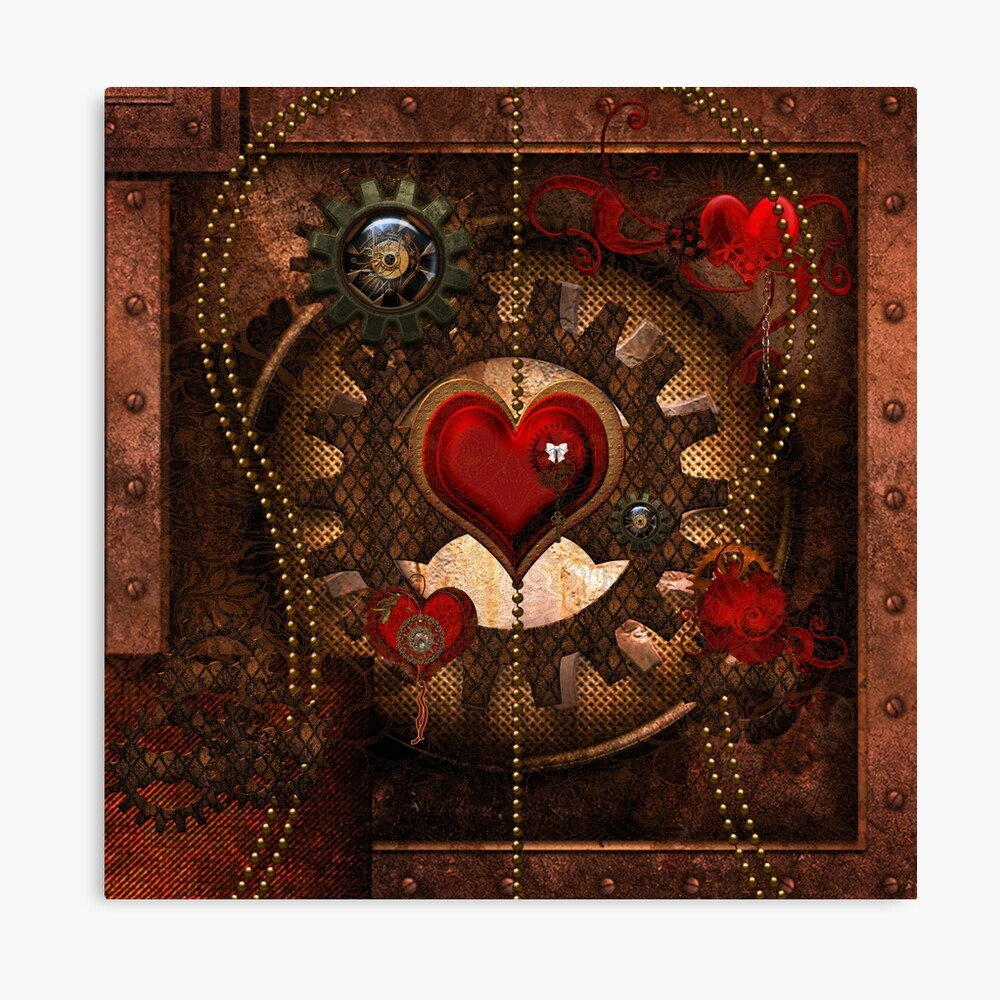 Steampunk, awesome steampunk heart  Canvas Print
