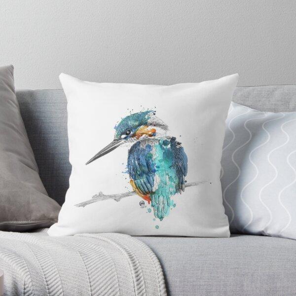 Watercolour Kingfisher Throw Pillow By Emmcglynn Redbubble