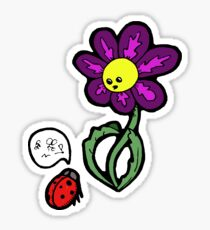 Flower and the Lady Bug Sticker