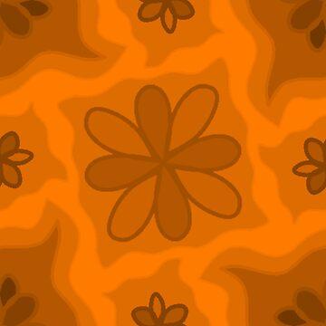 Orange Floral Wallpaper by Dees-Designs