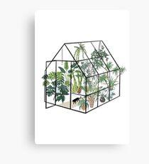 Lienzo metálico invernadero con plantas