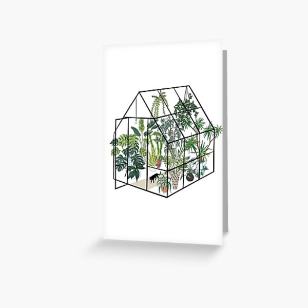 greenhouse with plants Greeting Card