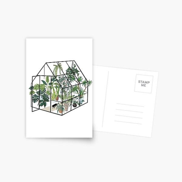 Gewächshaus mit Pflanzen Postkarte