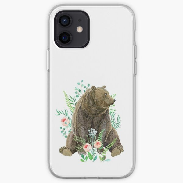 bear sitting in the forest iPhone Soft Case