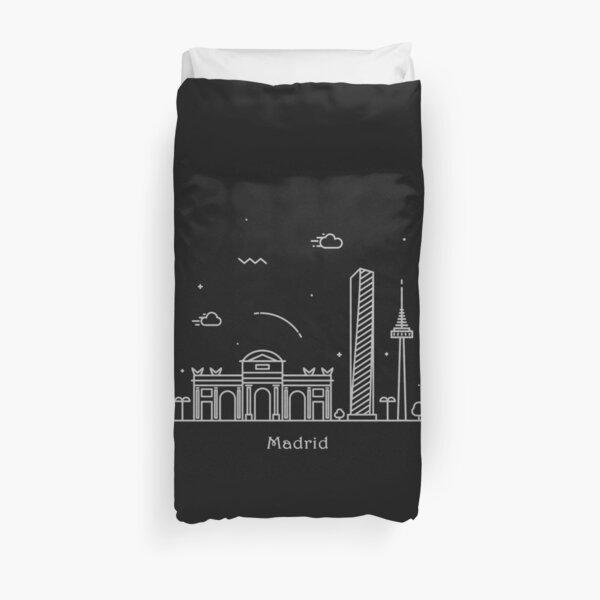 Cartel de arte de línea mínima Madrid Skyline Funda nórdica