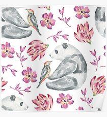 Panda bear, bird and flowers in watercolor Poster