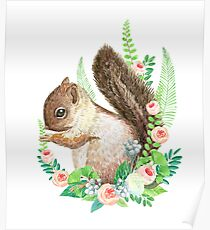 squirrel with flowers Poster