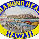 Diamond Head Hawaii Waikiki Beach Oahu by MyHandmadeSigns