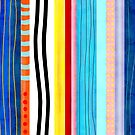 Vertical Marine Blue Lines Striped Summer Rainbow by rupydetequila