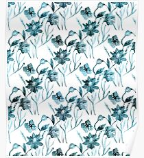 Blue, white floral pattern. Poster