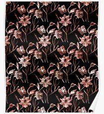 Beige, black floral pattern. Poster