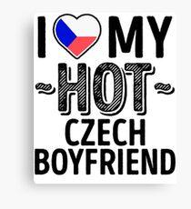 I Love My HOT Czech Boyfriend - Cute Czech Republic Couples Romantic Love T-Shirts & Stickers Canvas Print