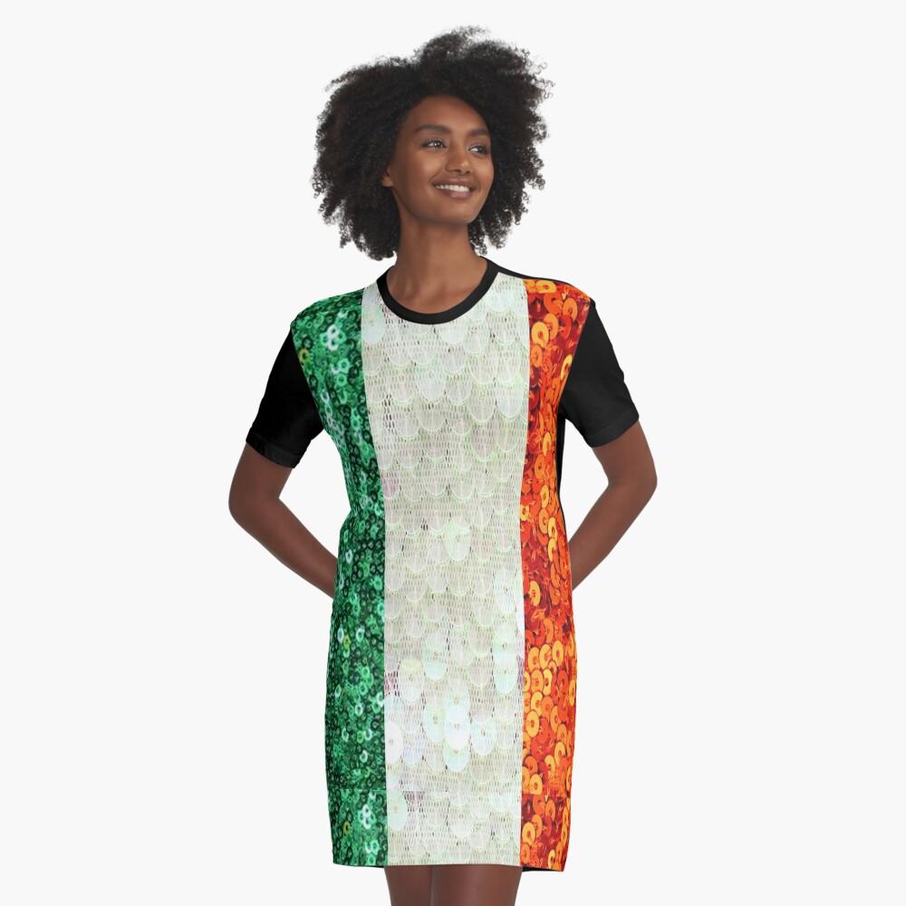 Irish,  Tri Color Flag,  Ireland,  Sequin,  Glitter,  Look,   Green White Orange Graphic T-Shirt Dress