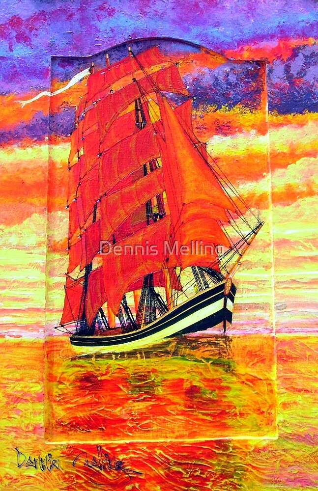 My Acrylic painting of a Clipper Ship Wearing Red Sails 1843 by Dennis Melling