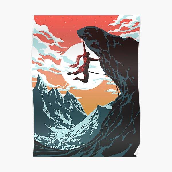 Climbing Girl Vector Art Poster