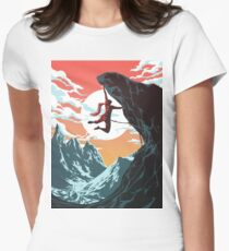 Climbing Girl Vector Art Women's Fitted T-Shirt