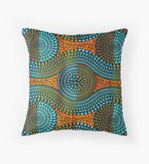 African motif, wax, orange, blue, turquoise Throw Pillow